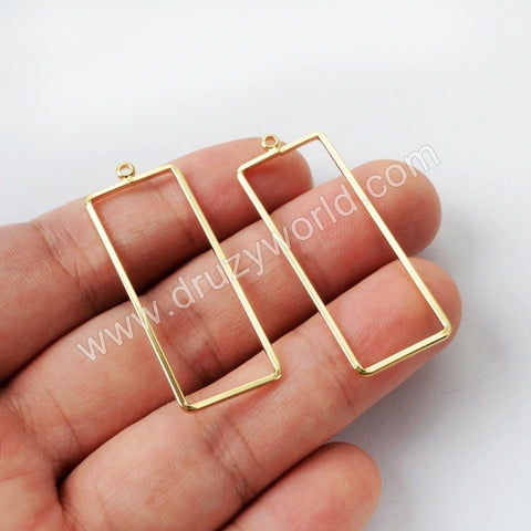 5pieces/lot,Gold Plated Brass Rectangle Charm PJ124