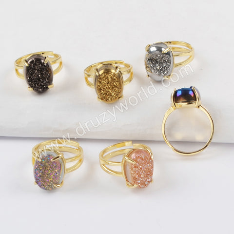 Gold Plated Claw Oval Titanium Rainbow Druzy Ring ZG0355