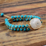 Sunflower Blue Howlite Adjustable Beads Bracelet Gold Plated HD0201