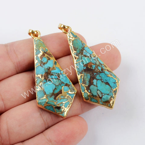 Sheild Copper Turquoise Faceted Pendant Charm For Women Silver Plated S1641