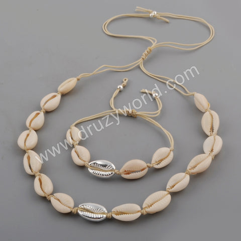 Silver Cowrie Shell Adjustable Bracelet and Necklace WX1098
