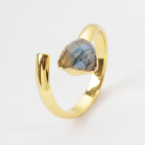 Gold Plated Triangle Natural Labradorite Faceted Wrap Ring G1490-2