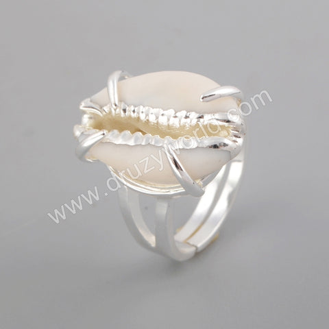Bezel Cowrie Shell Ring Women Rings Gold Plated ZG0398