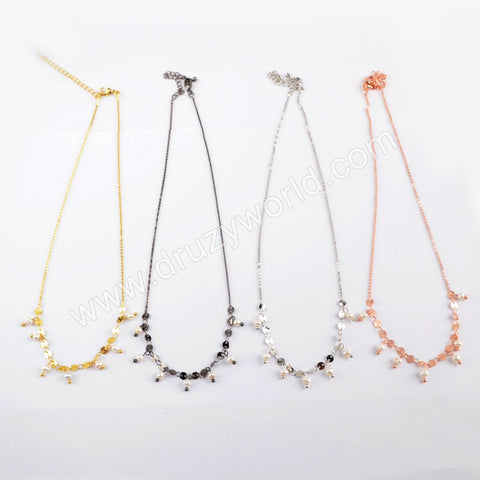 Natural Pearl Metal Chains Necklace WX1322