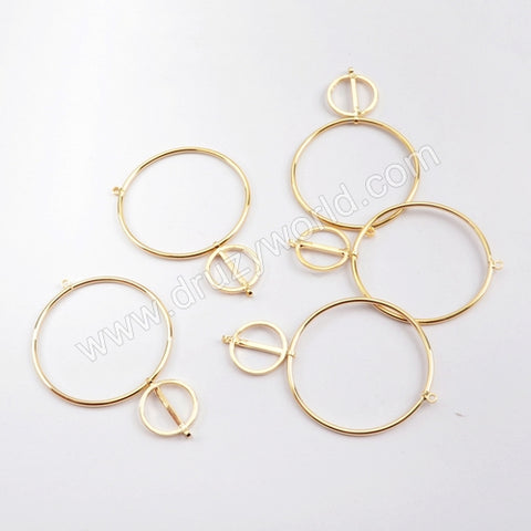 5pieces/lot,Gold Plated Brass Two Circle Rings Connector PJ125