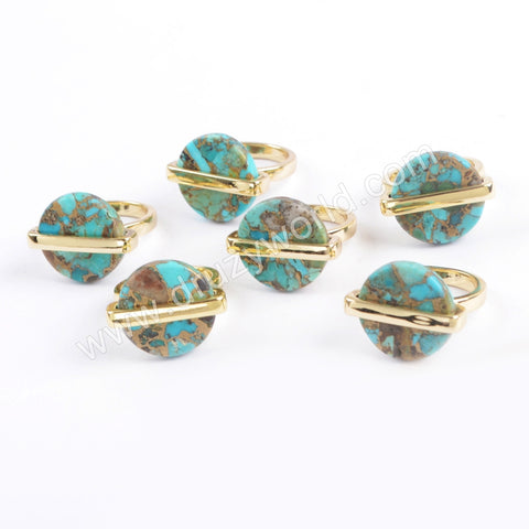 Copper Turquoise Ring Bezel Ring Gold Plated ZG0380