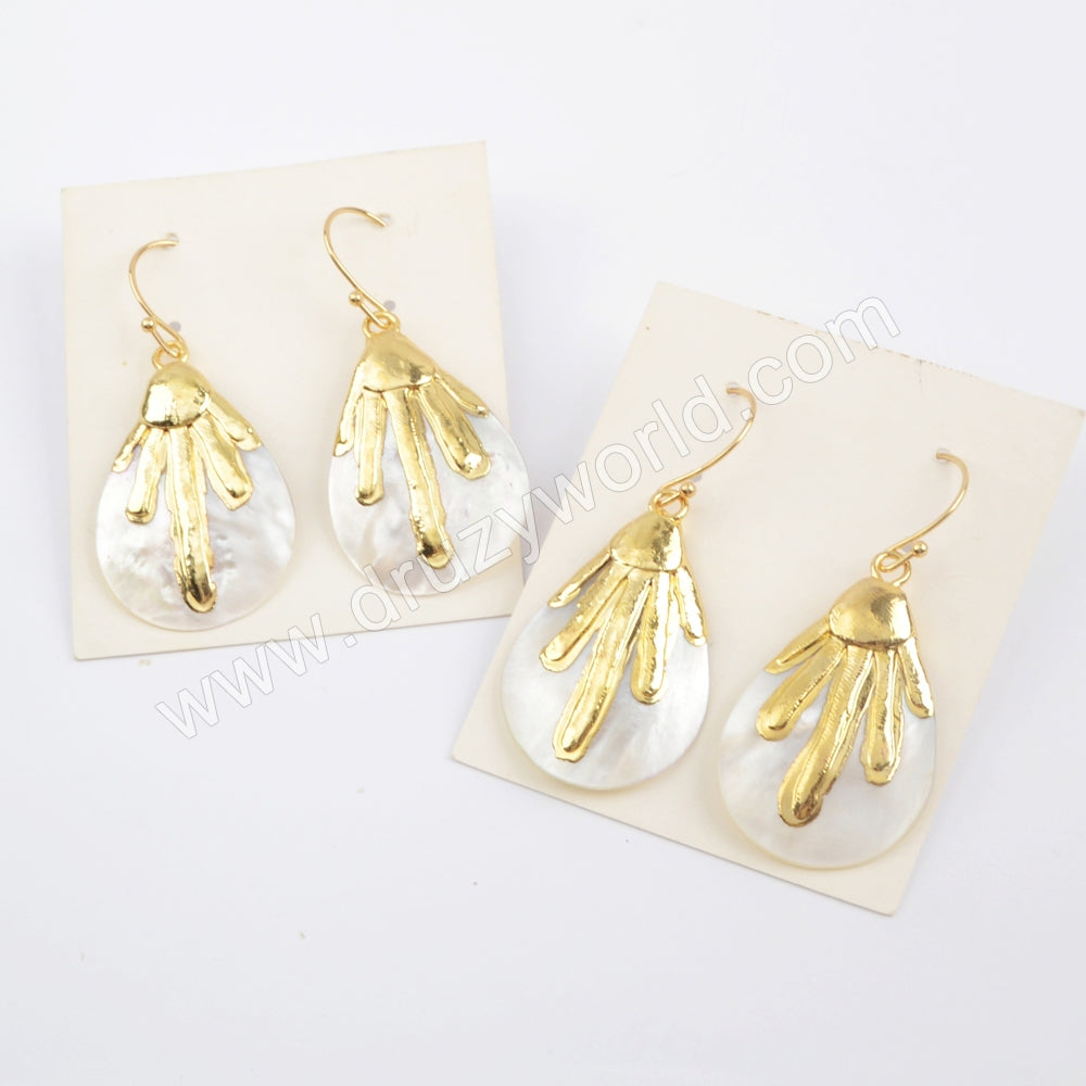 Gold Plated Drop Natural Shell Earrings G1917-E