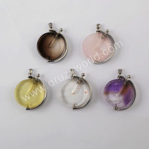 Natural Multi-kind Stones Perfume Bottle Pendant Silver Plated WX1305