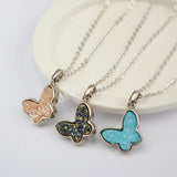 "16""Natural Agate Titanium Butterfly Druzy Necklace Silver Plated WX1366-N"