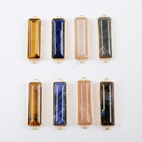 Rectangle Gemstone Lapis Lazuli  Labradorite Rose Quartz Tiger Eye Stone Connector WX970