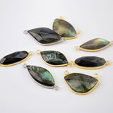 Gold/Silver Plated Natural Labradorite Stone Connector WX1534