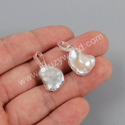 Natural White Pearl Pendant Charm For Women Jewelry Making Silver Plated S1673