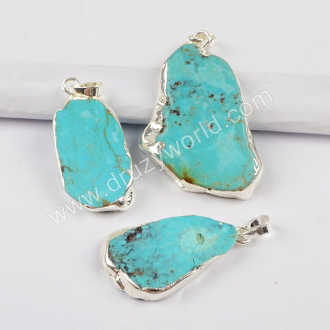 Natural Turquoise Slice Pendant Fashion Jewelry Making Silver Plated S1727