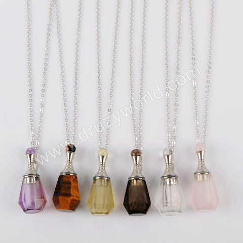 "26"" Silver Natural Stone Perfume Bottle Necklace WX1224-N"