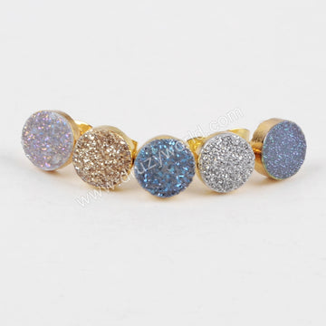 10mm Round Gold Plated Natural Agate Titanium Rainbow Druzy Stud Earrings G1278