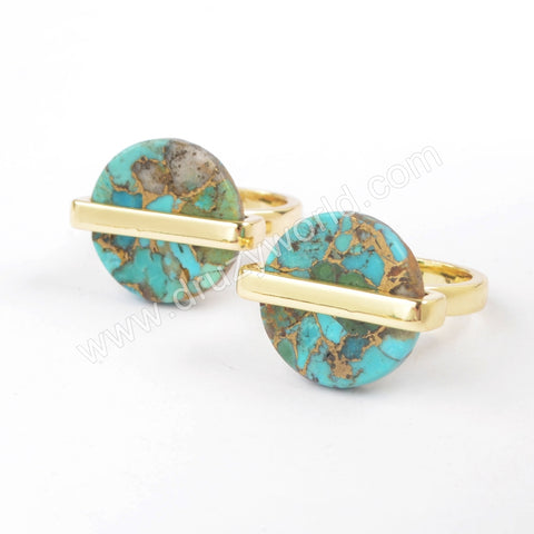 Round Gold Plated Bezel Copper Turquoise Ring ZG0380