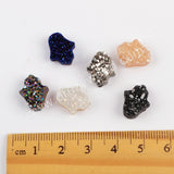 (With Hole)Rainbow Palm Titanium Raw Druzy Bead For Handmade Jewelry Making LS064