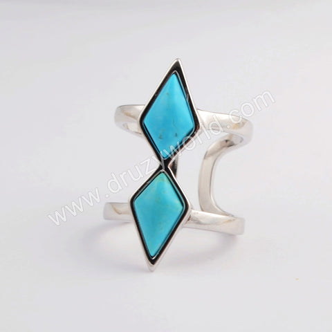 Natural Turquoise Double Diamond Open Ring Silver Plated ZG0403