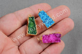 Trapezoid Rainbow Natural Agate Druzy Geode Charms Gold Plated G0256
