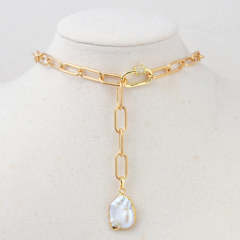 Natural Pearl Gold/Silver Chain Layer Necklace HD0354
