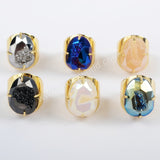 Egg Shape Gold Plated Claw  Titanium Druzy Faceted Ring ZG0312