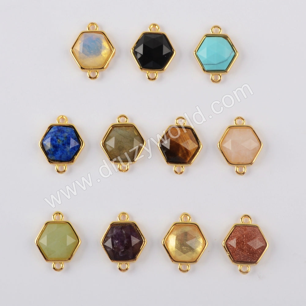 Natural Multi-kind Stones Connector Jewelry Making Gold Plated WX1289