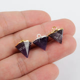 Gold Plated Natural Amethyst Cone Charm G1374