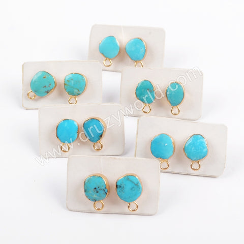 Gold Plated Natural Turquoise Charm Earring Studs G1709