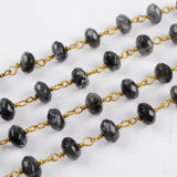 5m/lot,8x5mm Roundel Natural Larvikite Faceted Beads Wire Wrapped Rosary Chain JT184