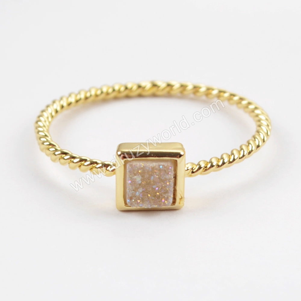 Square Gold Plated Natural Agate Titanium Rainbow Druzy Bezel Ring ZG0286