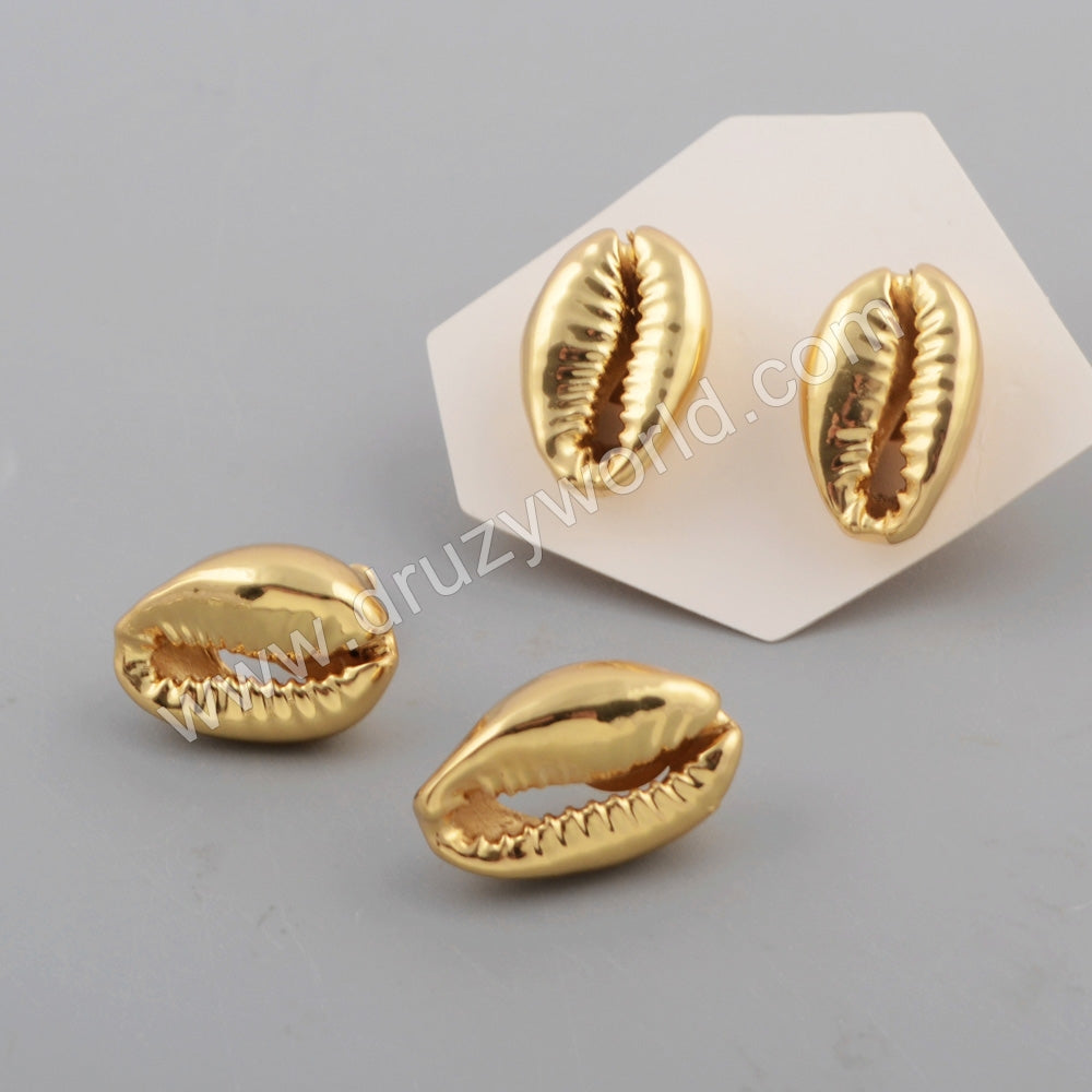 Full Cowrie Shell Statement Stud Earrings For Women Silver Plated S1771