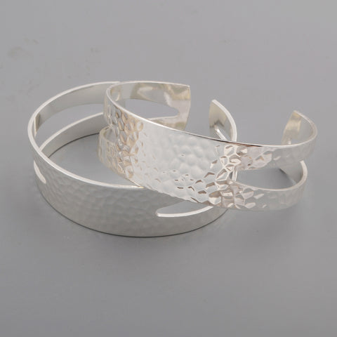 Silver Plated Hollow Brass Blank Bangle Settings PJ027-S
