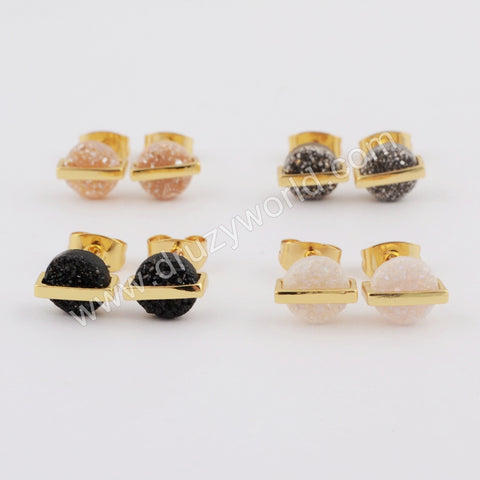 7mm Round Gold Plated Natural Agate Titanium Rainbow Druzy Stud Earrings ZG0399