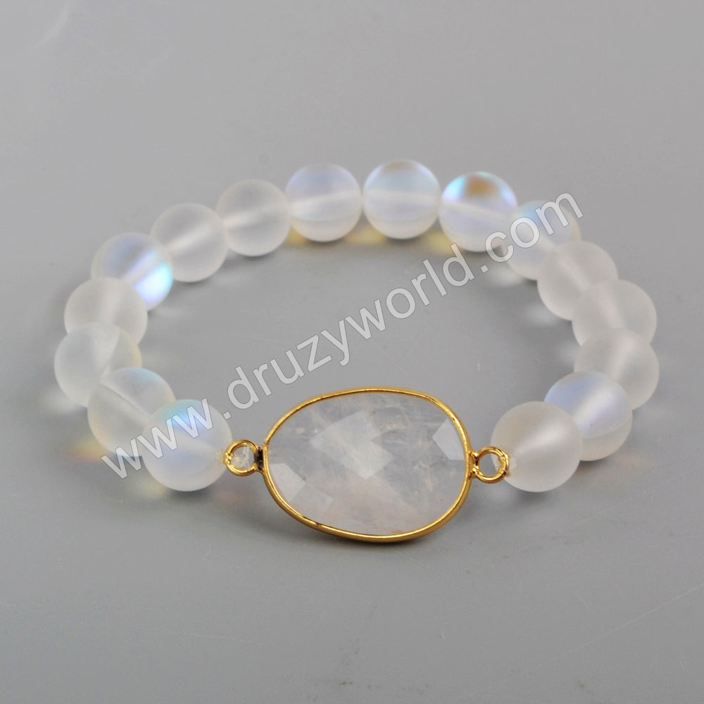 Gold Plated Faceted Amazon Labradorite Moonstone Beads Stone Bracelet With 10mm Beads G1876