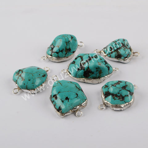 Natural Turquoise Connector Fashion Jewelry Making Silver Plated G1948