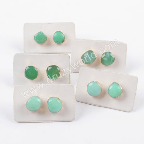 18K Gold Plated Free Shape Natural Australia Jade Gemstone Studs Gift For Mon G1653