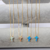 Gold Plated Cross White Opal Necklace G1491-1