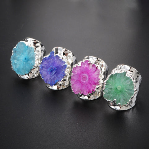 Rainbow Flower Solar Quartz Band Ring Silver Plated S0308