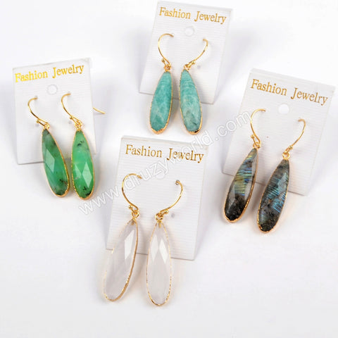 Teardrop Gold Plated Multi-kind Stone Faceted Earrings G1524-E