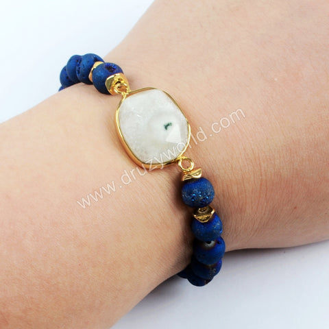 Gold Plated Natural White Solar Quartz Faceted With 8mm Titanium Rainbow Druzy Beads Bracelet G1550