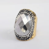 Gold/Silver Plated Sugilite Rhinestone Ring JAB972