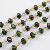 5m/lot,8x5mm Roundel Ruby Zoisite Faceted Beads Wire Wrapped Rosary Chain JT185