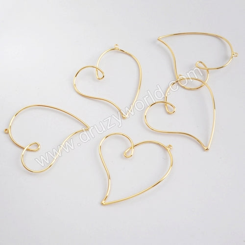10pieces/lot,Gold Plated Irregular Heart Charm PJ127