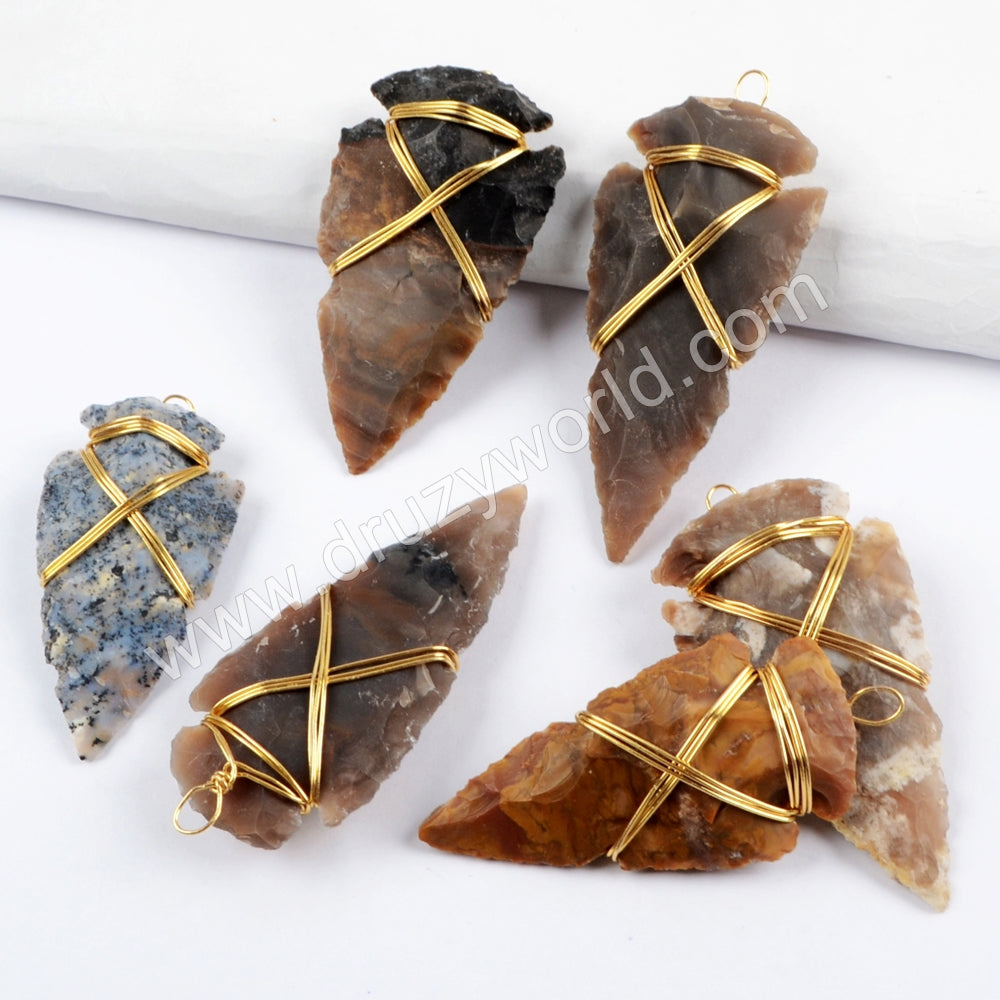 Gold Wire Wrapped Natural Jasper Arrowhead Pendant For Handmade Jewelry Making G1642