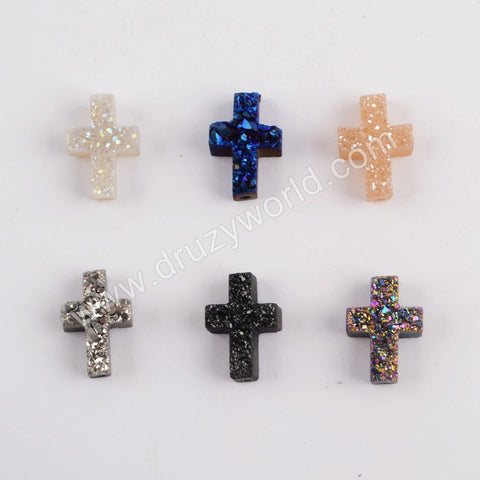 (With Hole)Rainbow Cross Titanium Raw Druzy Bead For Handmade Jewelry MakingLS065