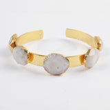 Gold Plated Five Natural White Solar Quartz Faceted Bangle G1438