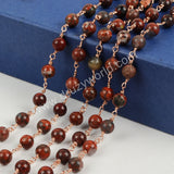 5m/lot,Gold Plated 8mm Round Flame Jasper Beads Wire Wrapped Rosary Chain JT122