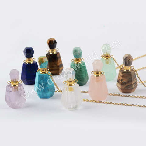 Natural Stone Perfume Bottle Chain Necklace G1965-N