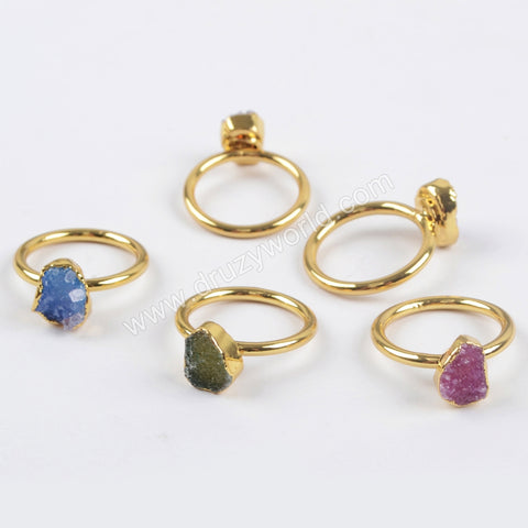 Gold Plated Rainbow Druzy Ring G1450