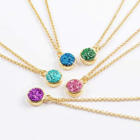 "24"" Adjustable Gold Plated Bezel Round Rainibow Titanium Druzy Necklace ZG0370"